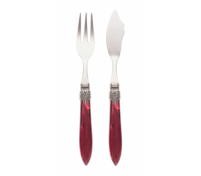 Fish Cutlery Set (2-piece) Murano Burgundy
