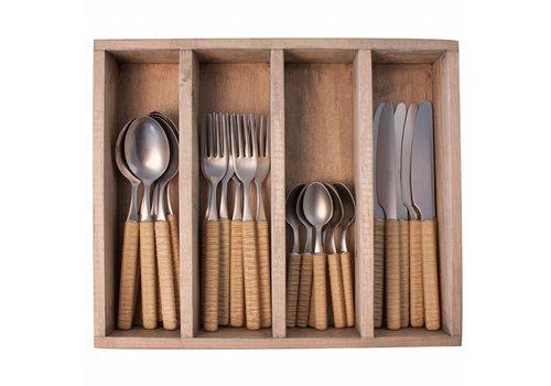 Kom Amsterdam Java 24-piece Diner cutlery set in wooden tray, Light Brown