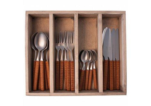 Kom Amsterdam Java 24-piece Diner cutlery set in wooden tray, Brown