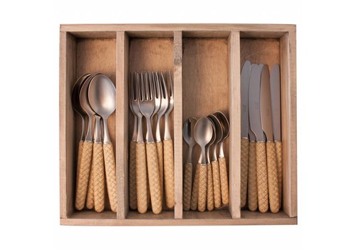 Kom Amsterdam Wood Style 24-piece Diner Cutlery Set in Cutlery Tray 'Bali' Light Brown