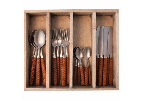 Kom Amsterdam Wood Style 24-piece Diner Cutlery Set in Cutlery Tray 'Bali' Brown
