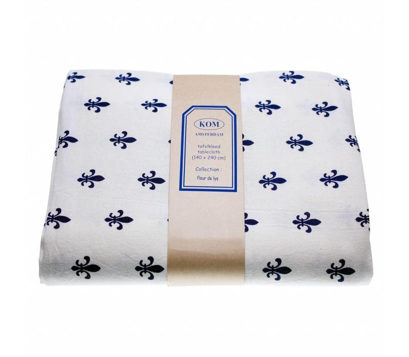 Tischdecke150x250 cm Fleur de Lys Blau