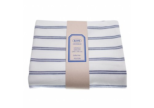 Kom Amsterdam Tablecloth Striped 140x240 cm Feston, Blue