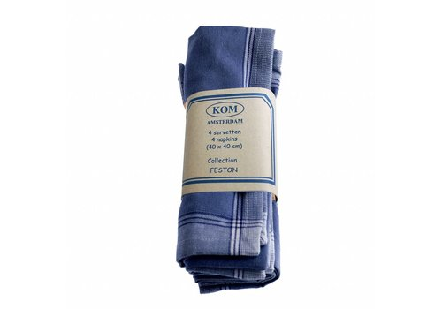 Kom Amsterdam Set of 4 Napkins 40x40 cm Feston, Blue
