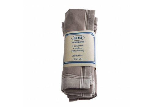 Kom Amsterdam Set of 4 Napkins 40x40 cm Feston, Grey