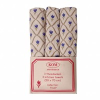 Set van 3 Theedoeken 50x70 cm Tulip, Blauw