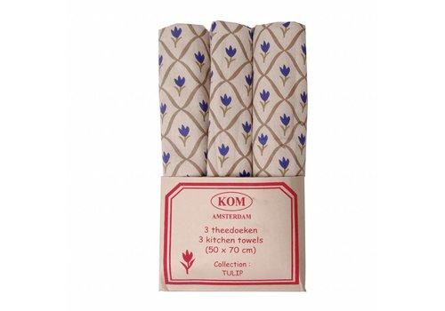 Kom Amsterdam Set van 3 Theedoeken 50x70 cm Tulip, Blauw