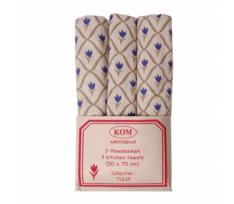 Set mit 3 Geschirrtüchern 50x70 cm Tulipe Blau