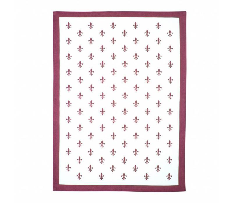 "Kom Amsterdam Set of 3 Tea Towels ""Fleur de Lys"" 50x70, Red, Blue, Grey"