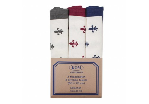 "Kom Amsterdam Kom Amsterdam Set of 3 Tea Towels ""Fleur de Lys"" 50x70, Red, Blue, Grey"