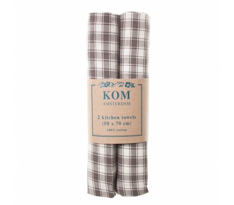 Campagne Set 2 Dish Towels 50x70 cm Check, Grey