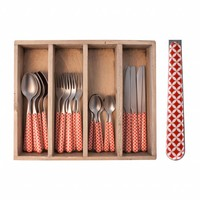 Provence 24-piece Dinner Cutlery Set 'Retro' in Cutlery Tray, Red
