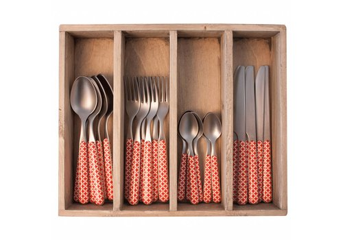 Kom Amsterdam Provence Cutlery Set 24 pcs Retro Red