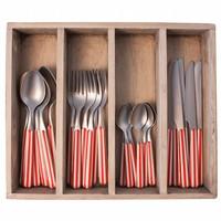 24-teiliges Provence Rot Stripe Besteck-Set in Holzkiste