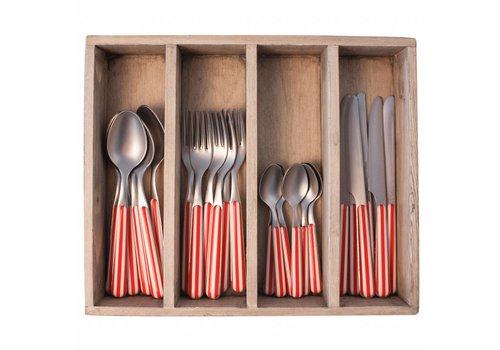 Kom Amsterdam Provence 24-piece Dinner Cutlery Set 'Stripe' in Cutlery Tray, Red
