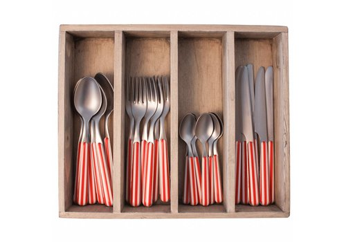 Kom Amsterdam Provence Cutlery Set 24 pcs Stripe Red