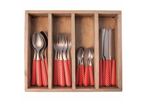 Kom Amsterdam Provence Cutlery Set 24 pcs Trellis Red
