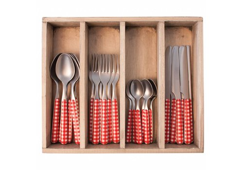 Kom Amsterdam Provence 24-piece Dinner Cutlery Set 'Check' in Cutlery Tray, Red