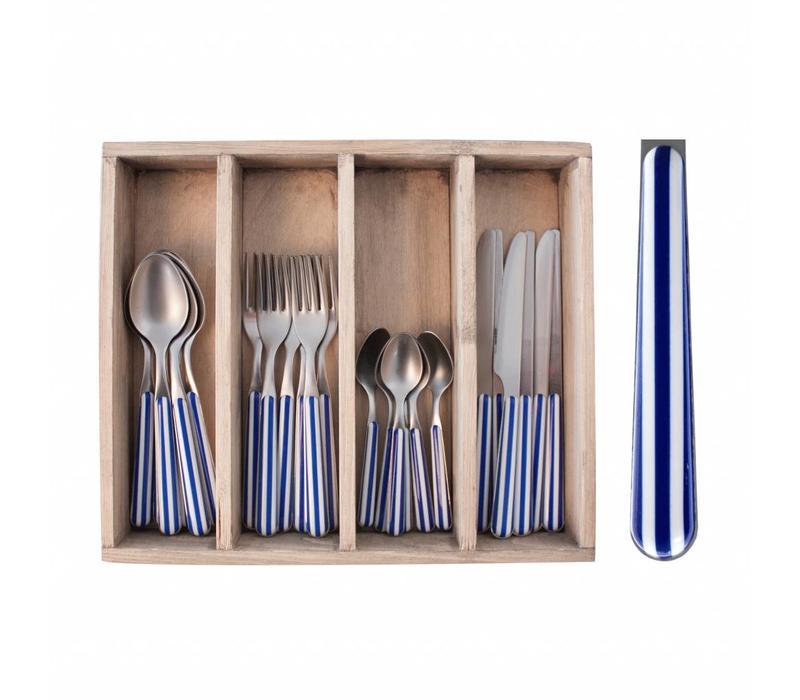 Provence Besteckset 24-Teilig Stripe Blau