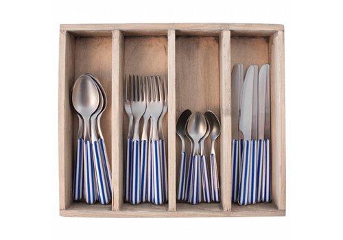 Kom Amsterdam Provence Besteckset 24-Teilig Stripe Blau