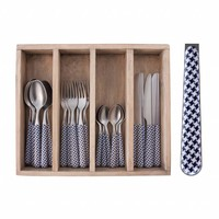 Provence 24-piece Dinner Cutlery Set 'Pied de Poule' in Cutlery Tray, Blue