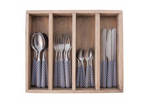 Kom Amsterdam Provence 24-piece Dinner Cutlery Set 'Pied de Poule' in Cutlery Tray, Blue