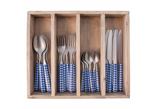 Kom Amsterdam Provence 24-piece Dinner Cutlery Set 'Check' in Cutlery Tray, Blue