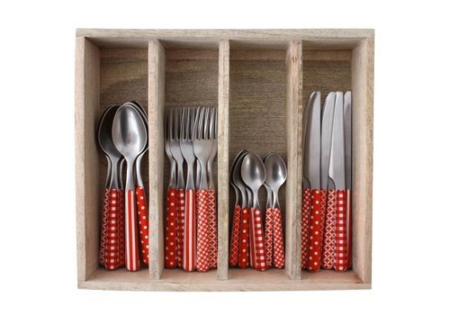 Kom Amsterdam Provence 24-piece Dinner Cutlery Set 'Mixed Designs' in Cutlery Tray, Red