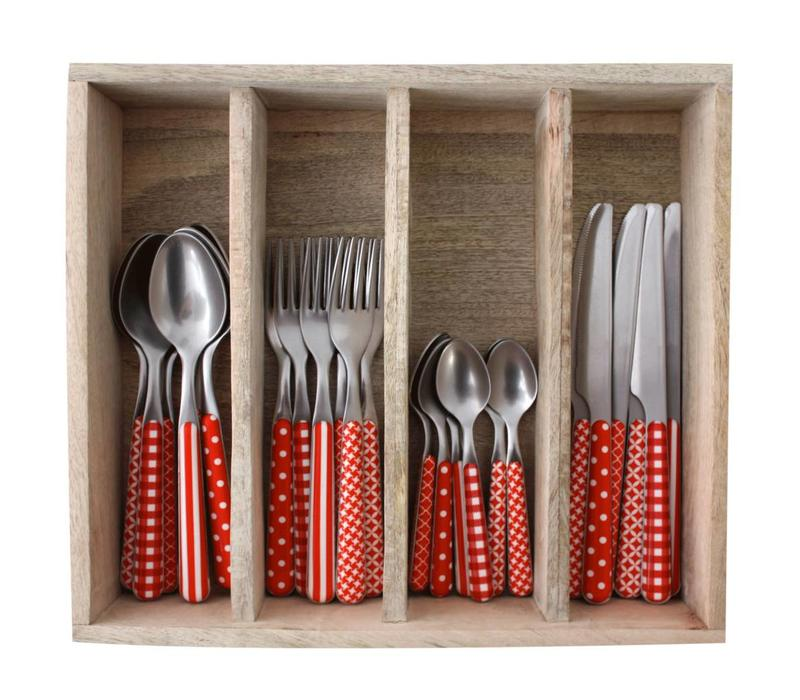 Provence 24-piece Dinner Cutlery Set 'Mixed Designs' in Cutlery Tray, Red