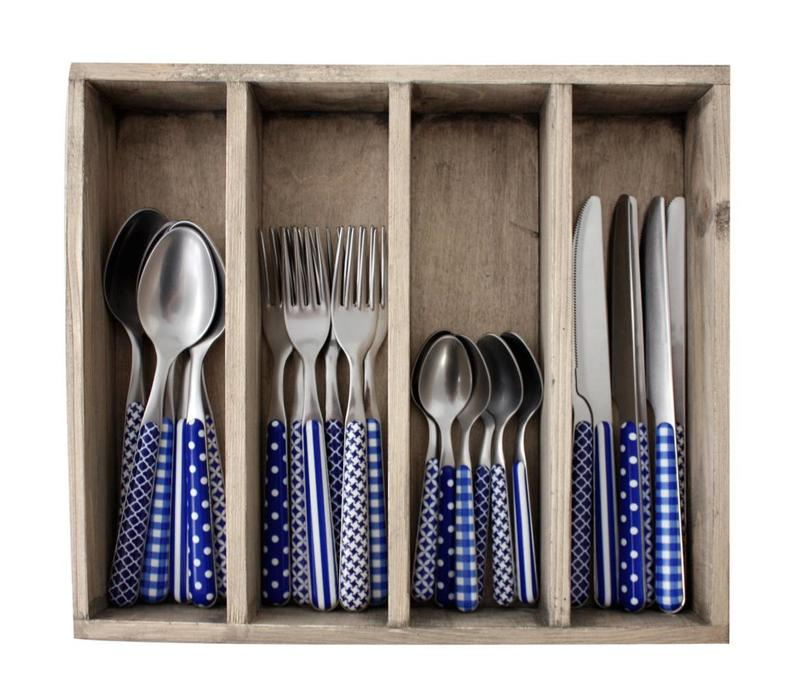 24-Teiliges Besteck Provence Blau in Kiste