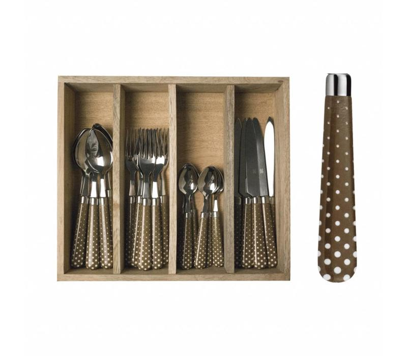 "Campagne 24-piece Dinner Cutlery Set ""Snow"" in Cutlery Tray, Taupe Brown"