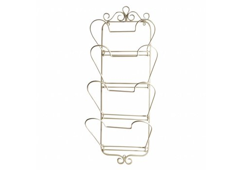 French Kitchen Collection Newspaper Rack 28x14xH69 cm -, Cream