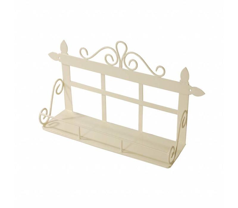 French Kitchen Collection Small Wall Rack with 1 Shelf Cream