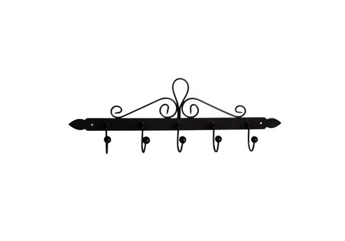Kom Amsterdam French Kitchen Collection Dishcloth Rack with 5 Hooks 44x5xH14 cm Black