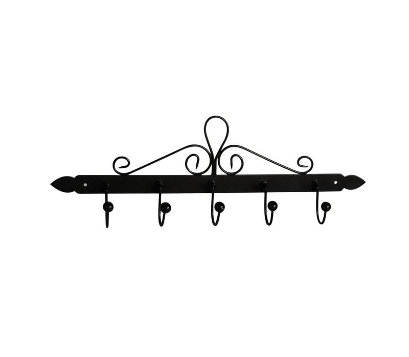 French Kitchen Collection Dishcloth Rack with 5 Hooks 44x5xH14 cm Black