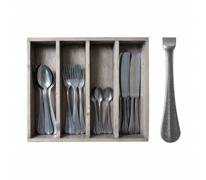 Brocante 24-piece Diner Cutlery Set in Cutlery Tray 'Decor no.8' Weathered Steel