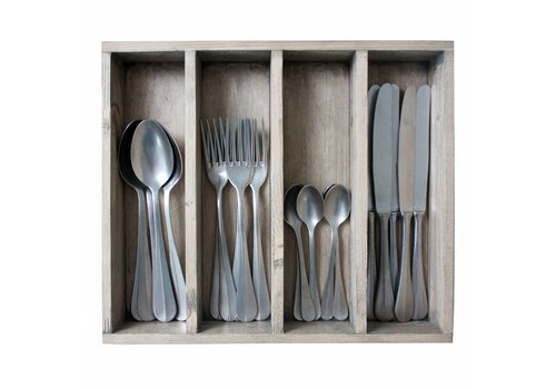 Kom Amsterdam Brocante 24-piece Diner Cutlery Set in Cutlery Tray 'Decor no.8' Weathered Steel