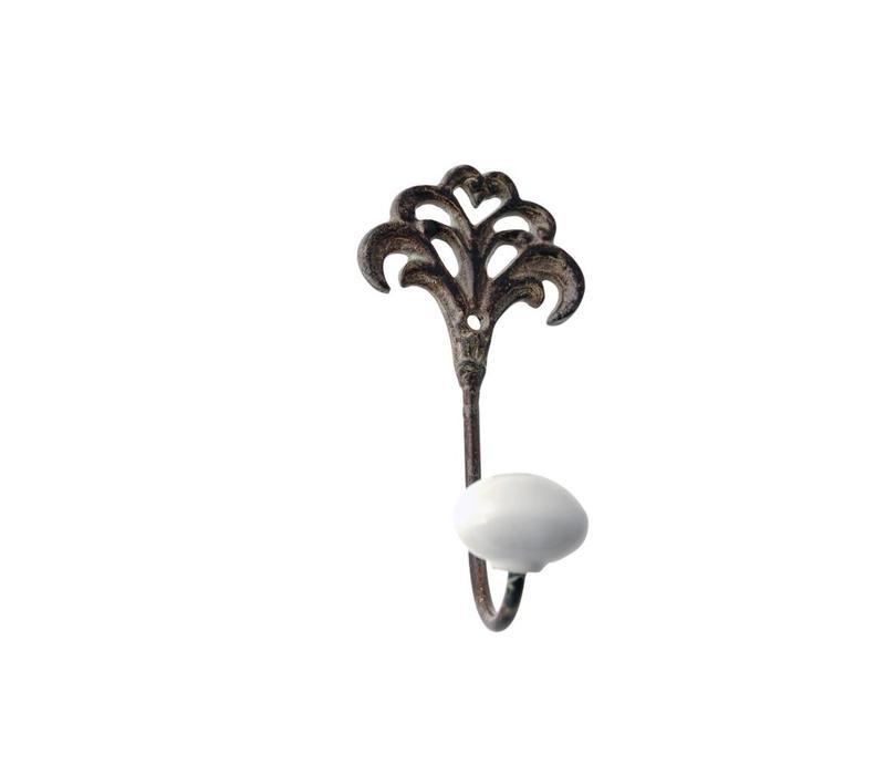 French Kitchen Collection Small Hook Porcelain Knob Iron Antic Finish