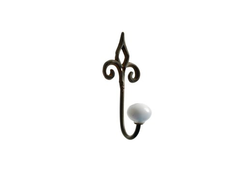 French Kitchen Collection FKCsmall Hook Porcelain Knob Iron Antic Finish