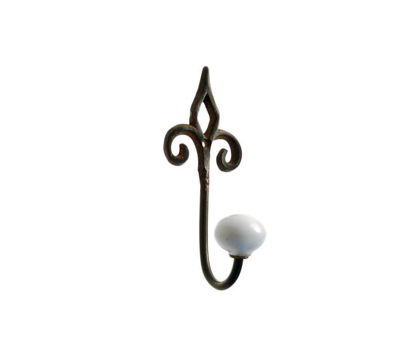 FKCsmall Hook Porcelain Knob Iron Antic Finish