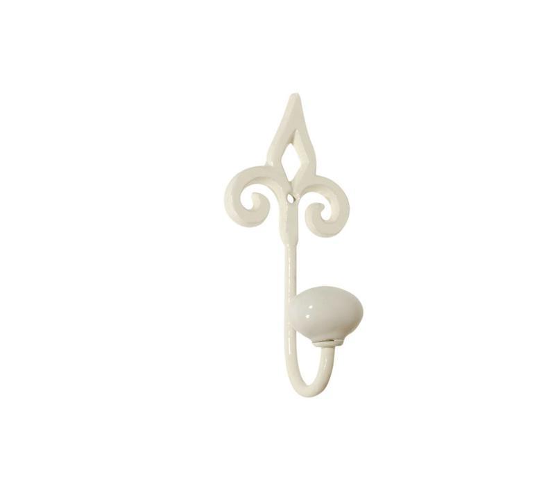 Hook with Porcelain Knob H13 cm Iron, Cream