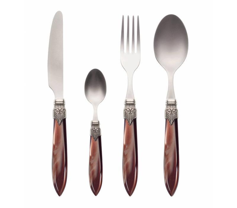 Dinner Cutlery Set (4-piece) Murano, Chocolate brown