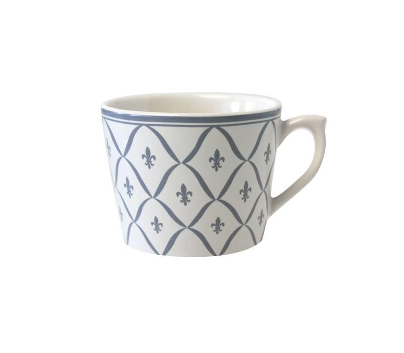 Dépôt d'Argonne Cappuccino-Tasse Fleur de Lys Grijs