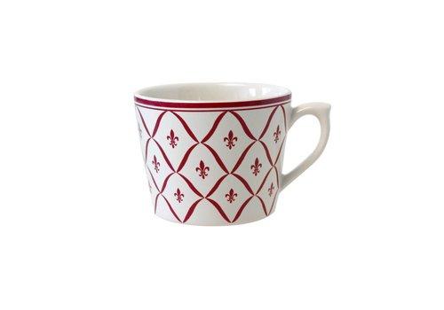 Dépôt d'Argonne Dépôt d'Argonne Cappuccino Cup Fleur de Lys, Red