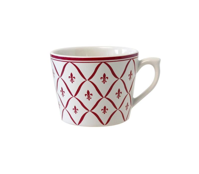 Dépôt d'Argonne Cappuccino Cup Fleur de Lys, Red