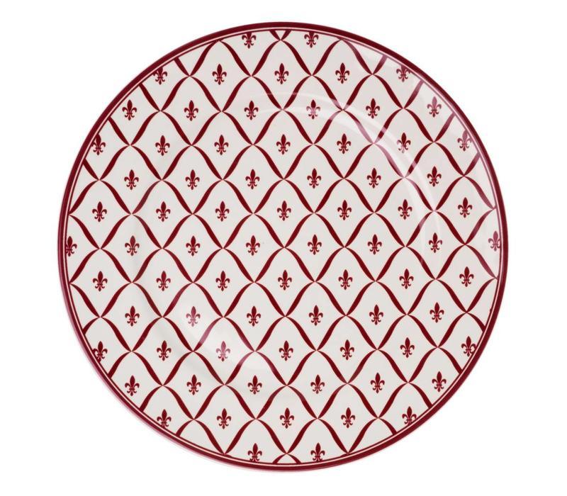 Dépôt d'Argonne Dinner Plate Fleur de Lys, Red