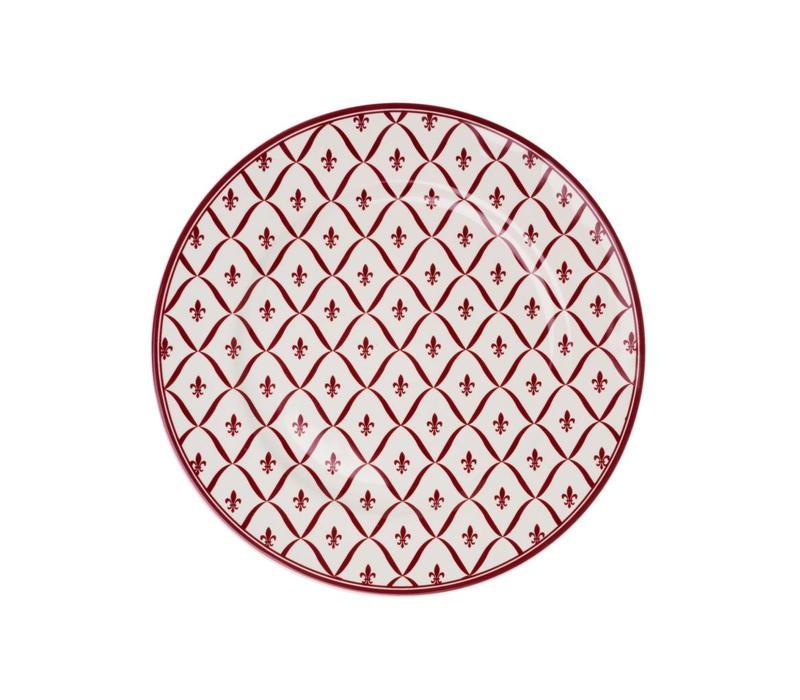 Dépôt d'Argonne Breakfast Plate 23 cm Fleur de Lys, Red