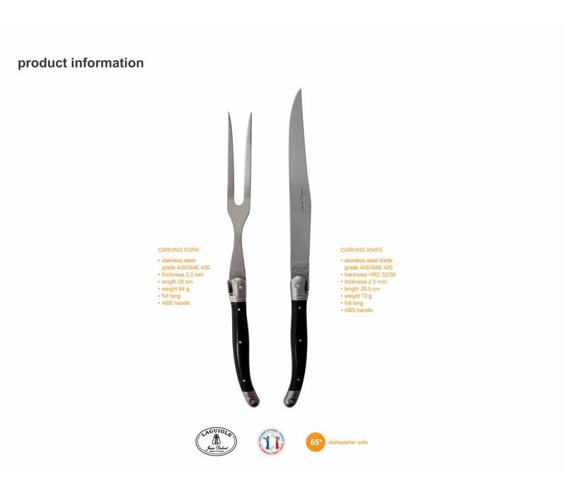 Laguiole Carving Knife & Fork Black in Box