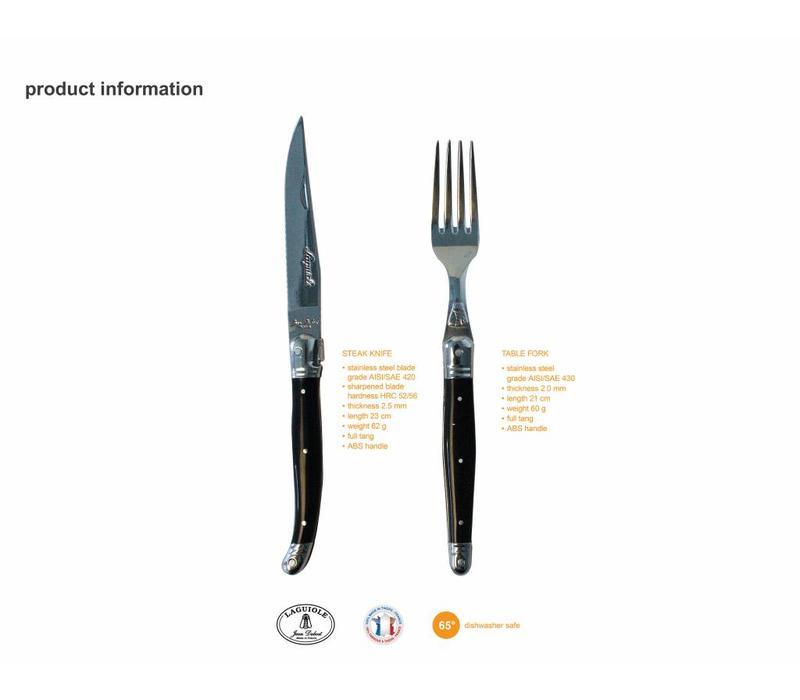 Laguiole 6 Steakmessen & 6 Vorken 2,5 mm in Kistje Olijfhout
