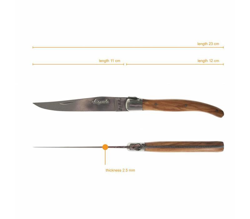 Laguiole 6 Steakmesser & 6 Gabeln 2,5 mm Mischholz in Box